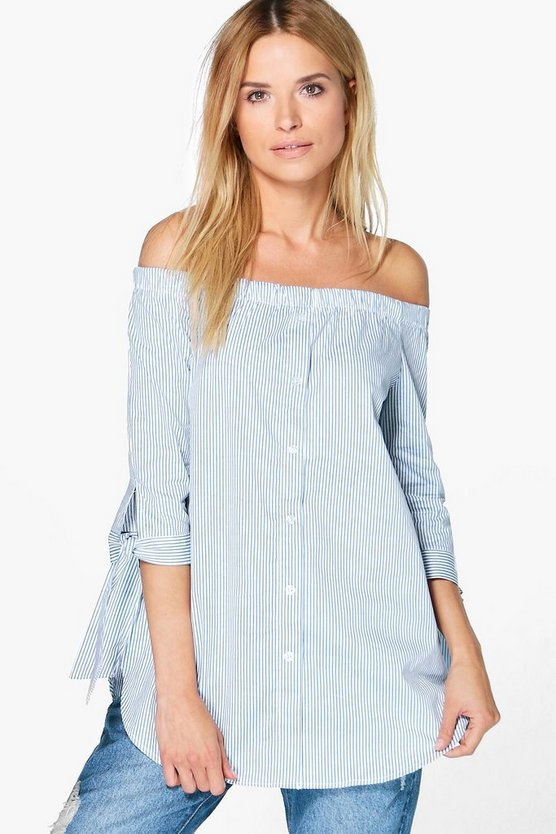 Bryony Off The Shoulder Stripe Woven Top
