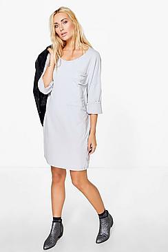 Julia Oversized Slouchy Pocket T-Shirt Dress