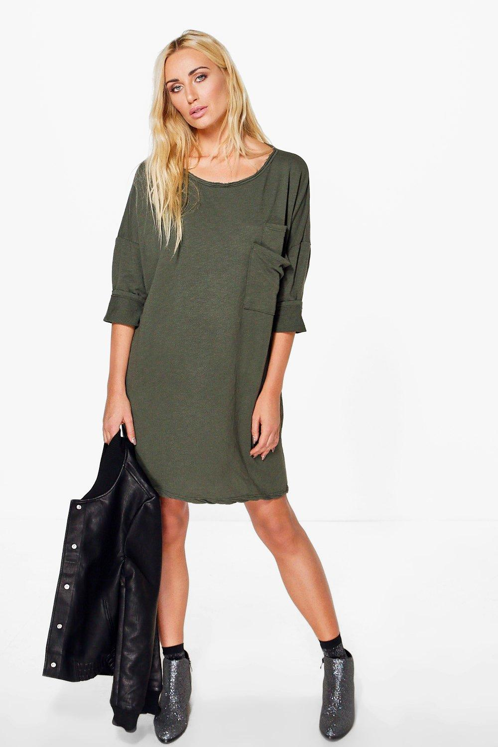 Julia Oversized Slouchy Pocket T-Shirt Dress