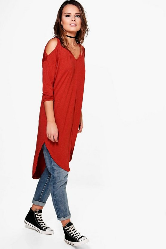 Katrina Asymmetric Cold Shoulder Top