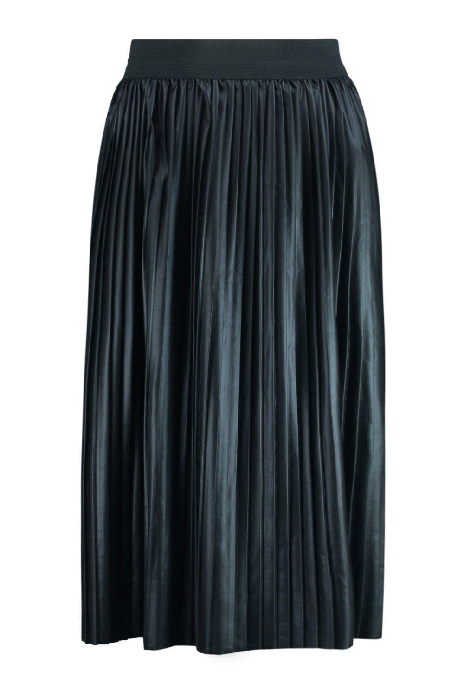 boohoo womens anah pleated leather look midi skirt ebay