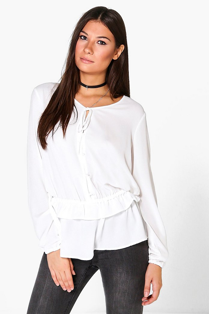 Hailey Tie Neck Ruffle Hem Blouse