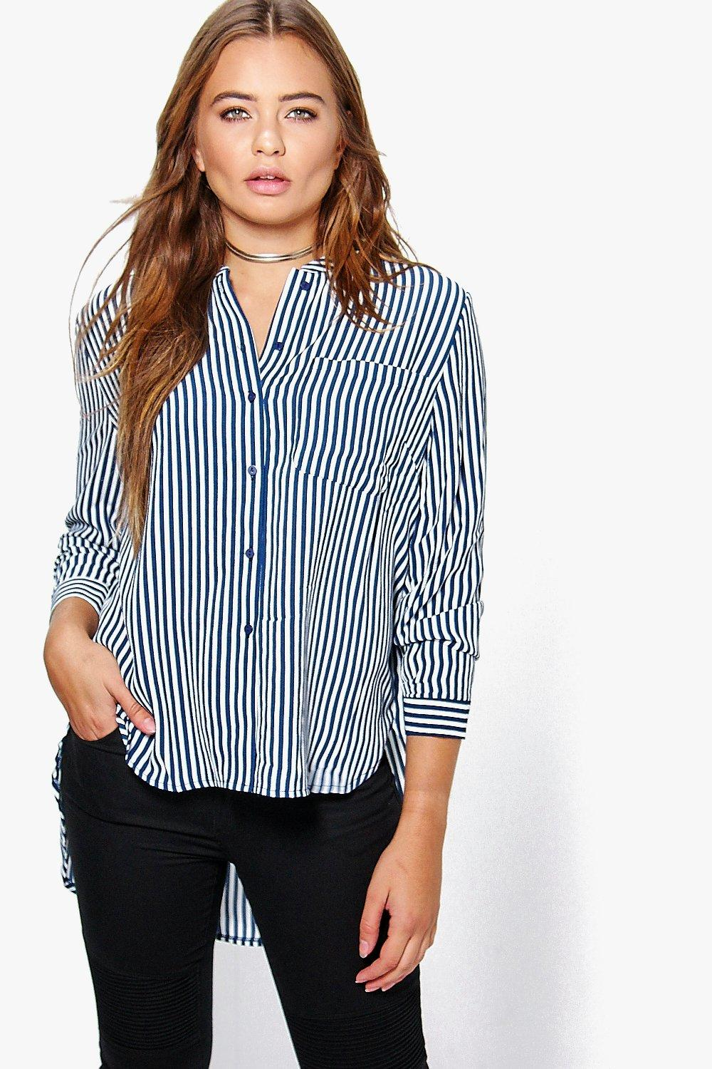 Harriet Dip Hem Striped Grandad Shirt