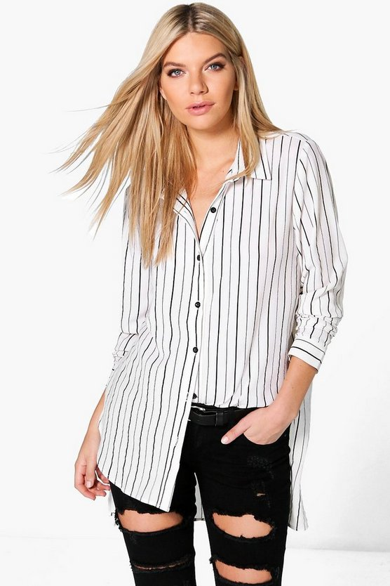 Lacey Striped Dip Hem Shirt
