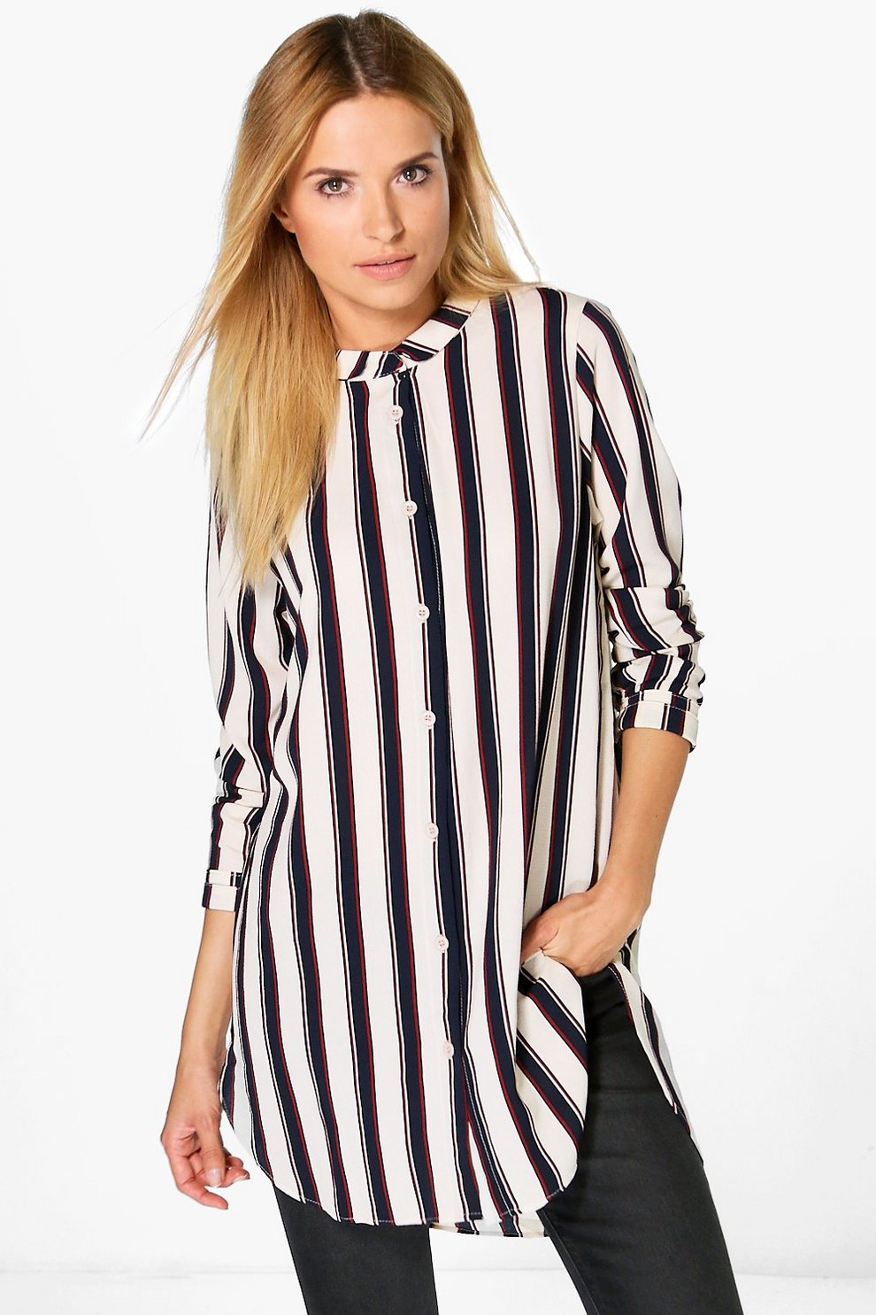 Longline Striped Shirt - Multi Selected Choice Buy Cheap Fashionable Buy Cheap Genuine Outlet Pictures 6TAFu5I