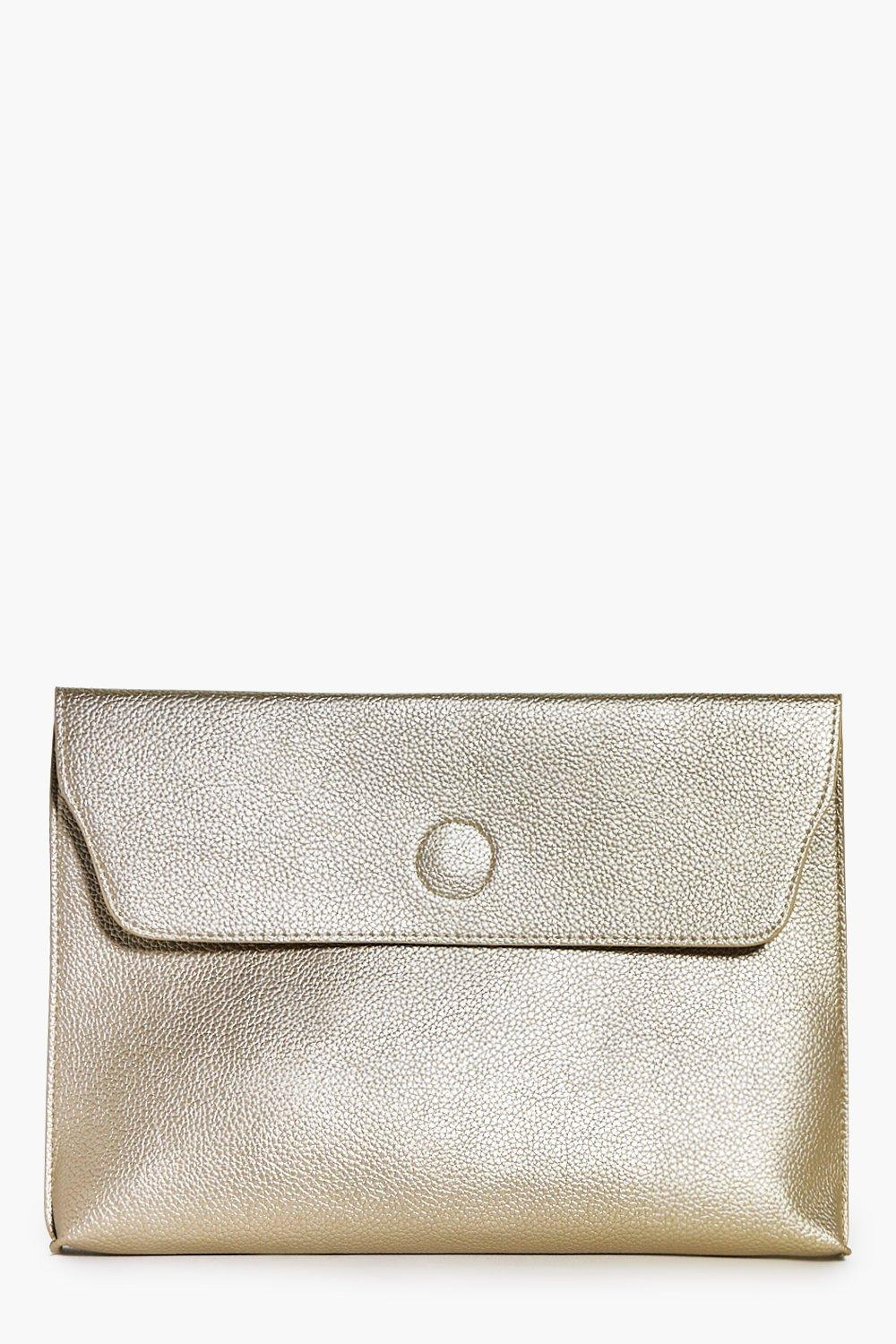 Lena Oversized Metallic Clutch Bag