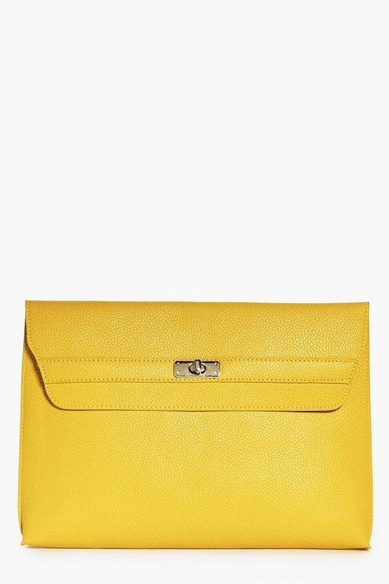 India Oversized Twist Lock Clutch Bag