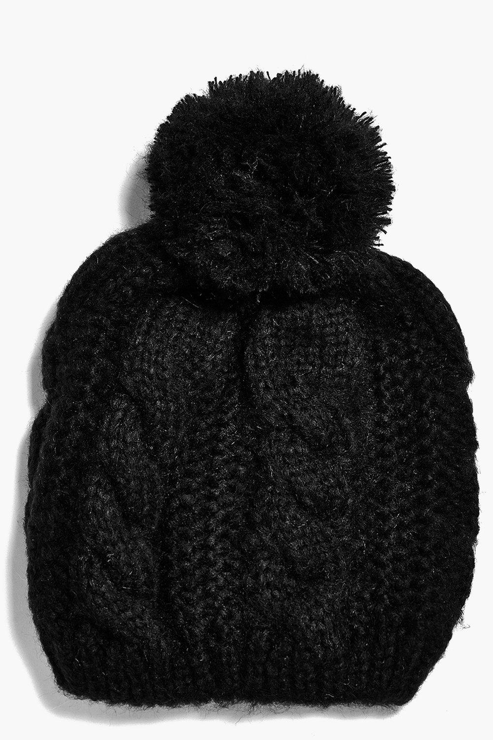 Sadie Cable Knit Oversize Pom Beanie Hat