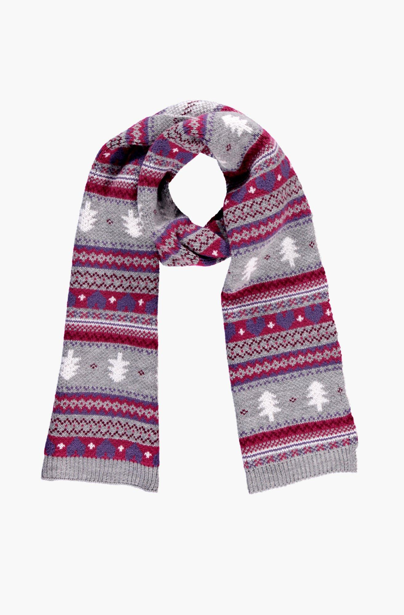 Fairisle Knitted Scarf - grey - Eloise Fairisle Kn