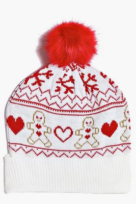 Tia Gingerbread Fairisle Beanie Hat