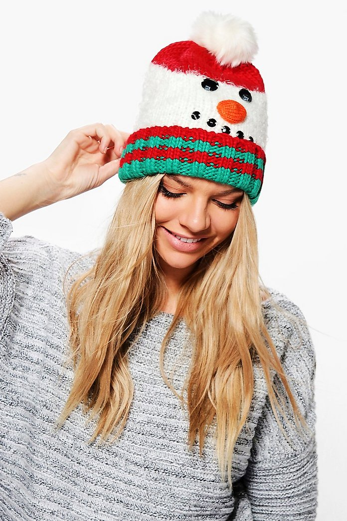 Zoe Light Up Snowman Pom Beanie Hat