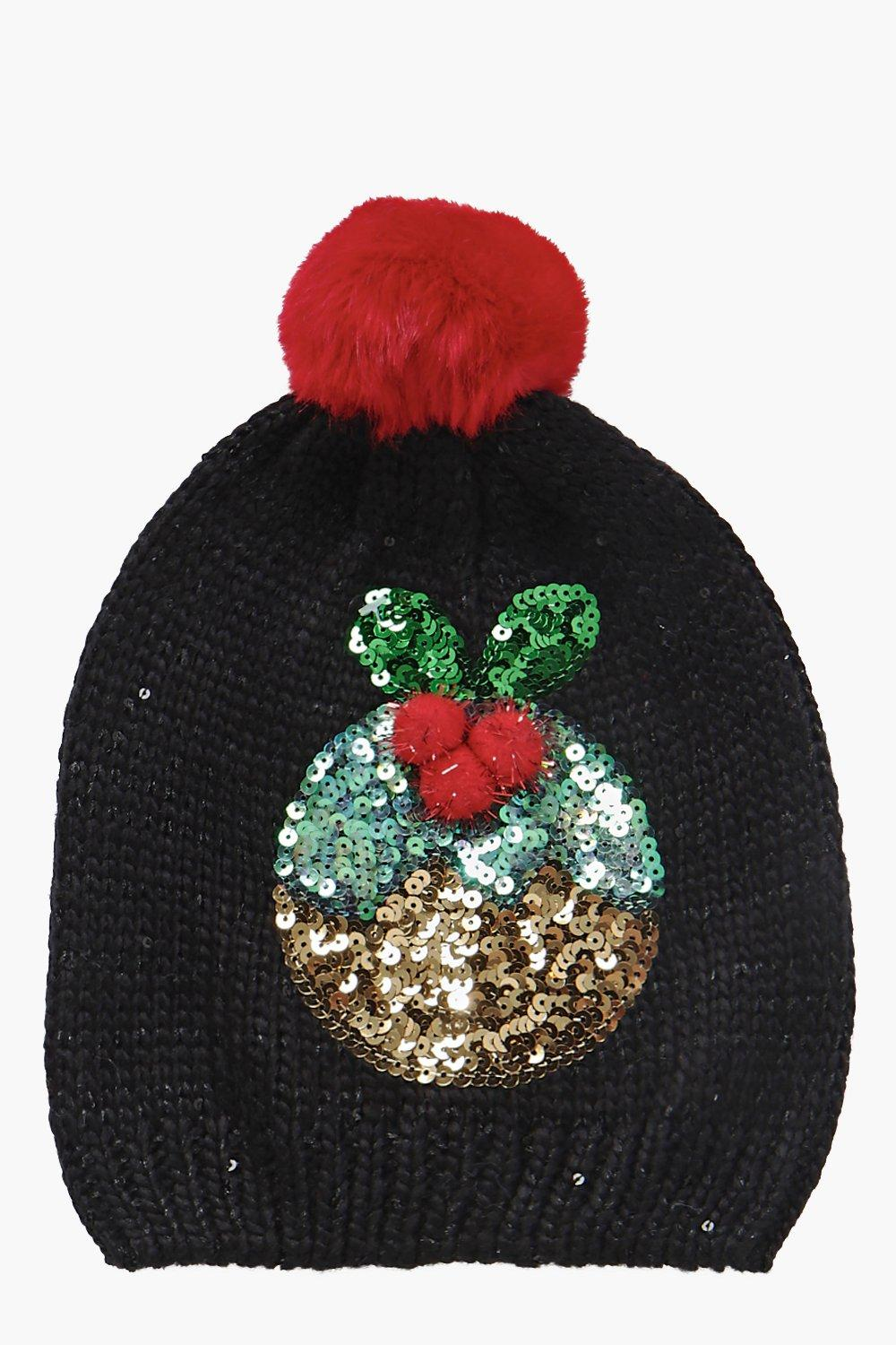 Maisy Sequin Pudding Pom Beanie Hat