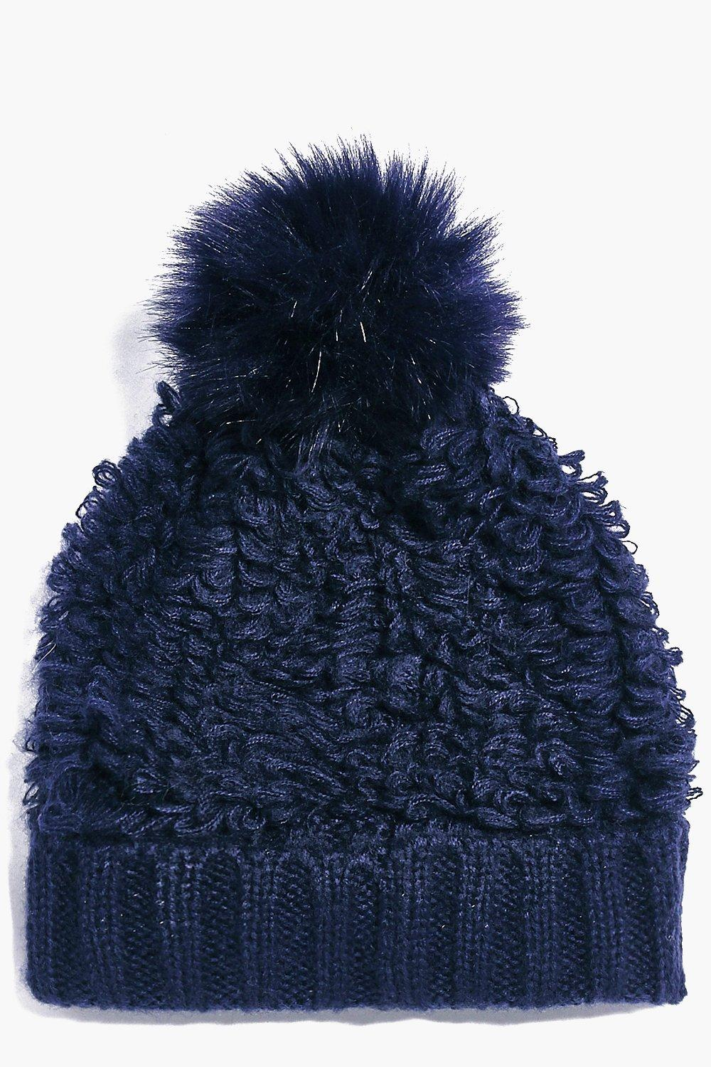Lois Faux fur Pom Fluffy Knit Beanie Hat