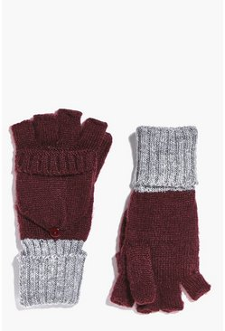 Annabel Ribbed Contrast Knit Gloves