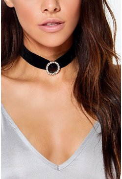 Ella Black Stone and Diamante Velvet Choker