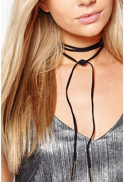 Mya Skinny Suedette Wrap Around Choker