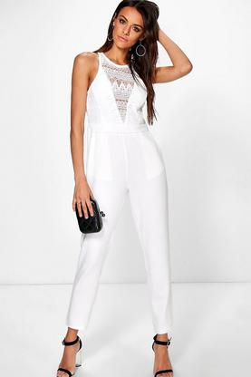Boutique Mia Crochet Detail Jumpsuit