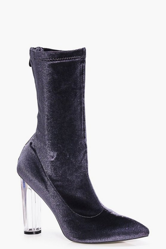 Nancy Velvet Clear Sock Boot