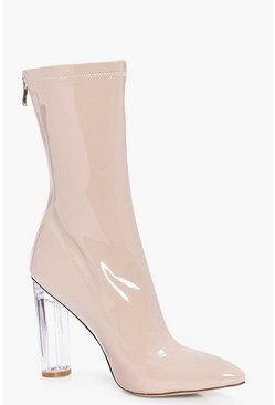 Natasha Clear Patent Sock Boot