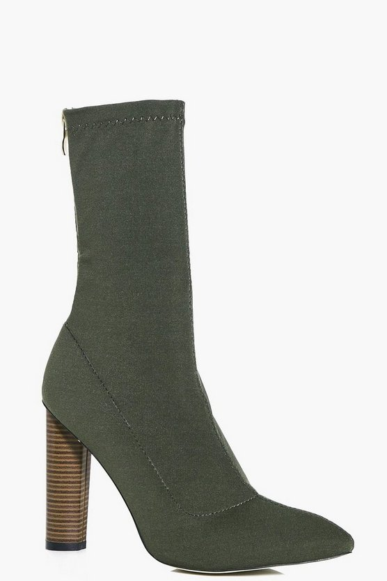 Tia Cylinder Heel Pointed Sock Boot