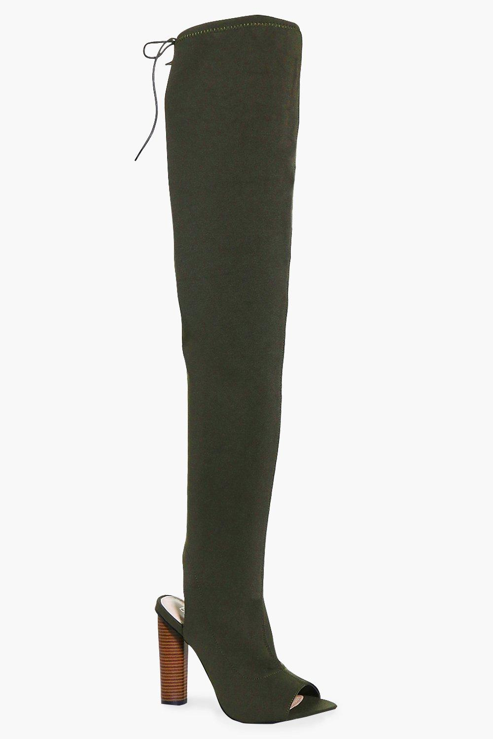 Anya Peeptoe Open Back Over The Knee Boot