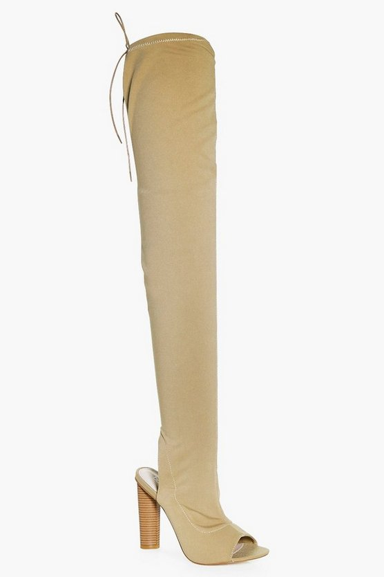 Lois Peeptoe Open Back Over The Knee Boot