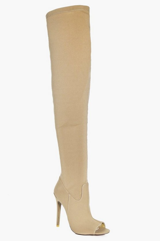 Martha Peeptoe Thigh High Boot