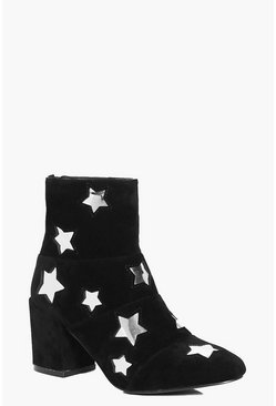 Frances Star Detail Block Heel Boot