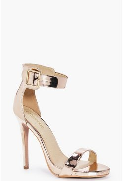 Hollie Two Part Metallic Ankle Band Heel