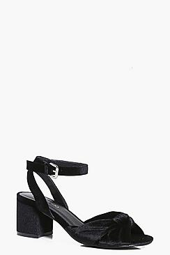 Heidi Knotted Front Low Block Heel