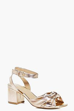 Keira Metallic Knotted Front Low Block Heel