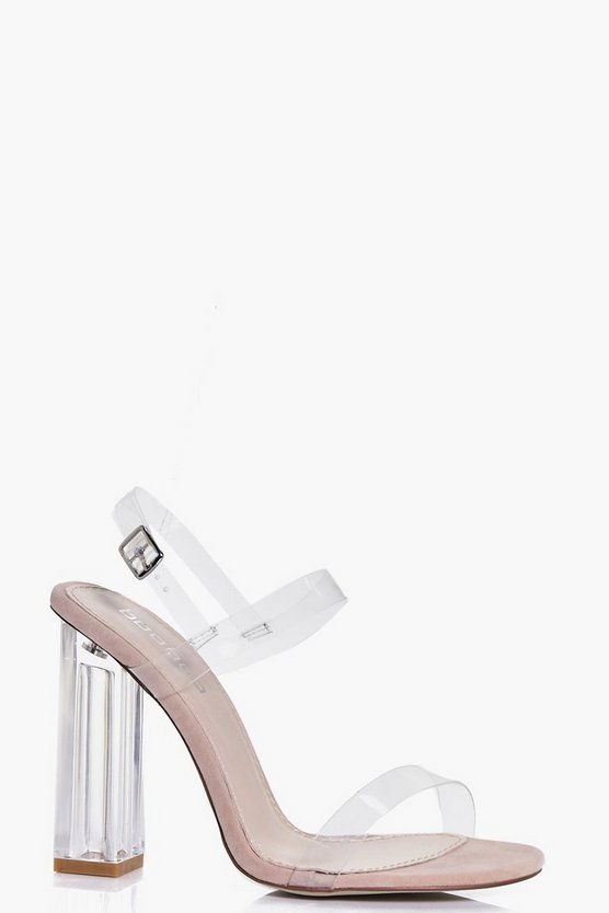 Charlotte Clear Block Two Part Heels