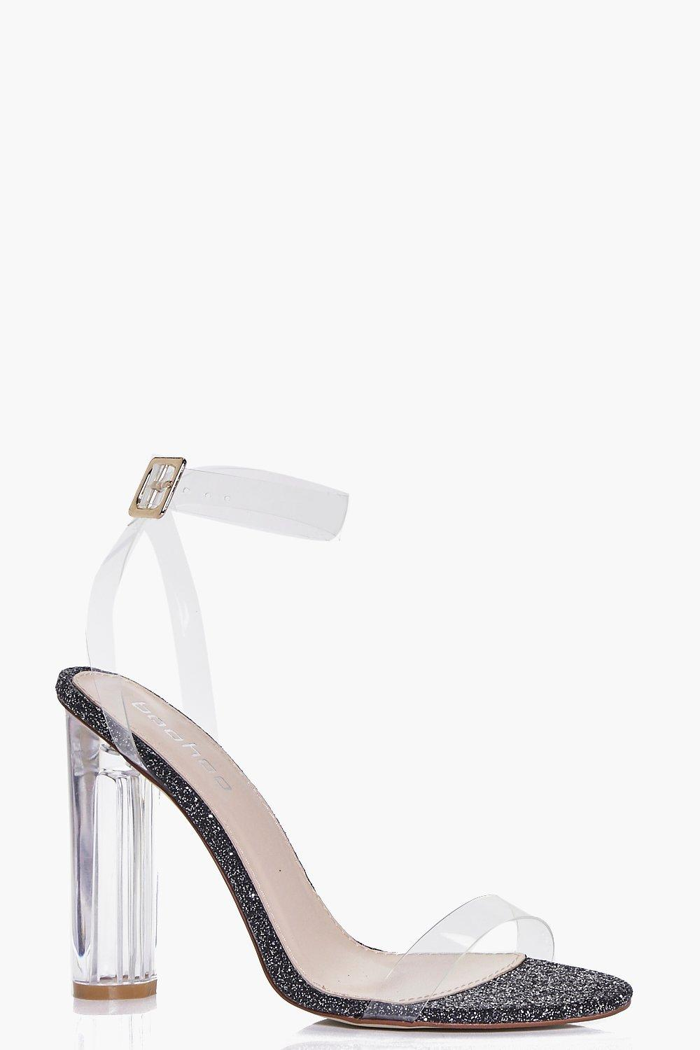 Amber Glitter Cylinder Clear Two Part Heels