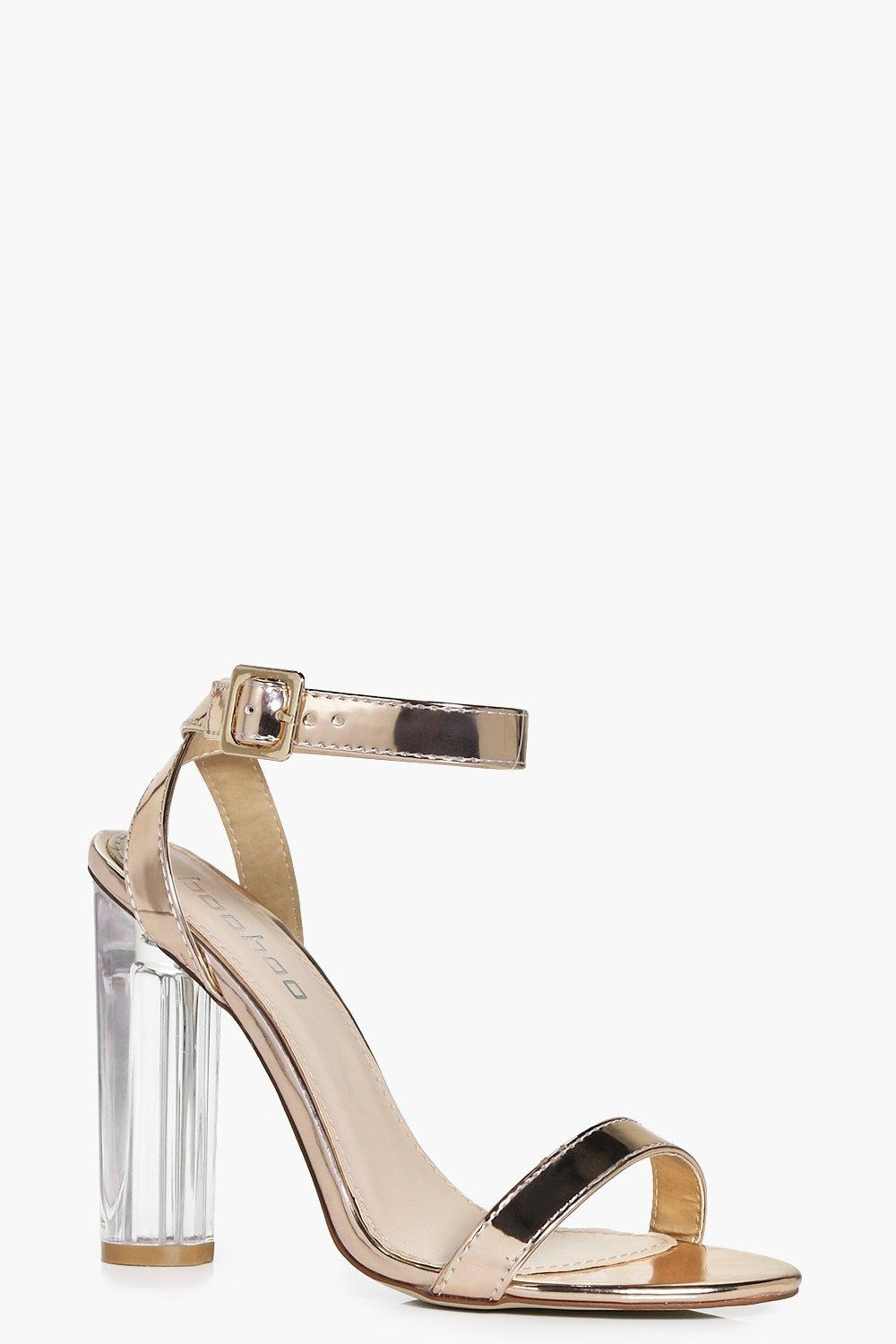 Violet Metallic Two Part Cylinder Clear Heels
