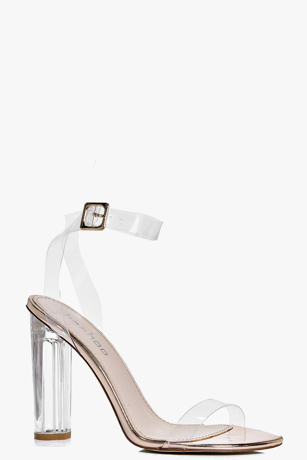 Bella Metallic Clear Cylinder Two Part Heels