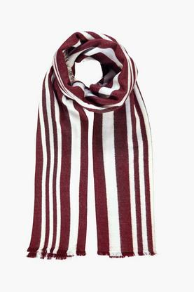Nina Varied Stripe Wool Oversized Scarf