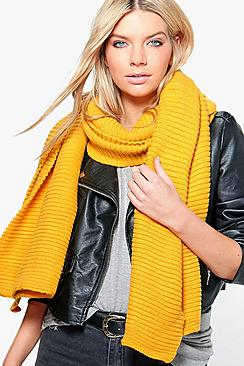 Hope Chunky Ribbed Wool Oversized Scarf