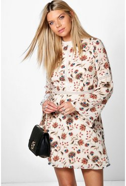 Imogen High Neck Paisley Skater Dress