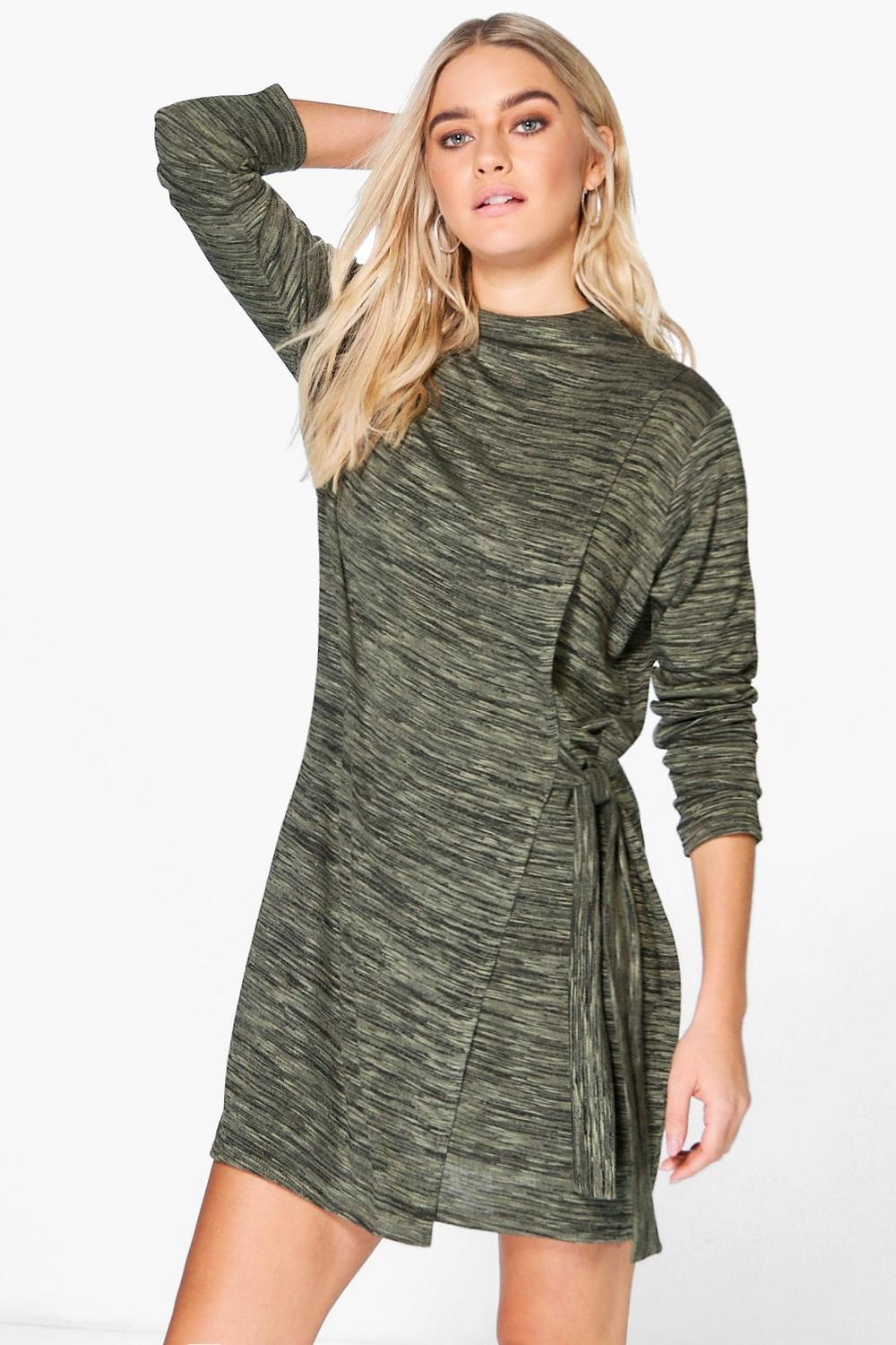 Annora High Neck Tie Front Wrap Dress
