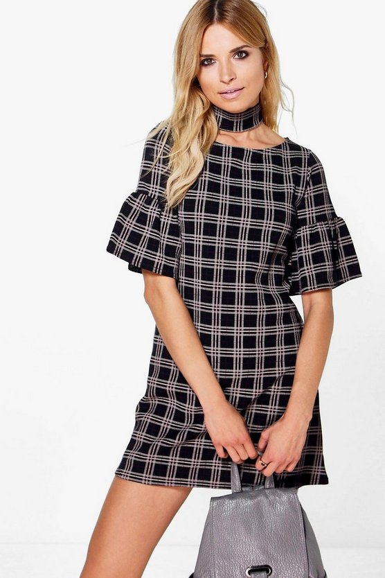 Finola Choker Check Printed Shift Dress