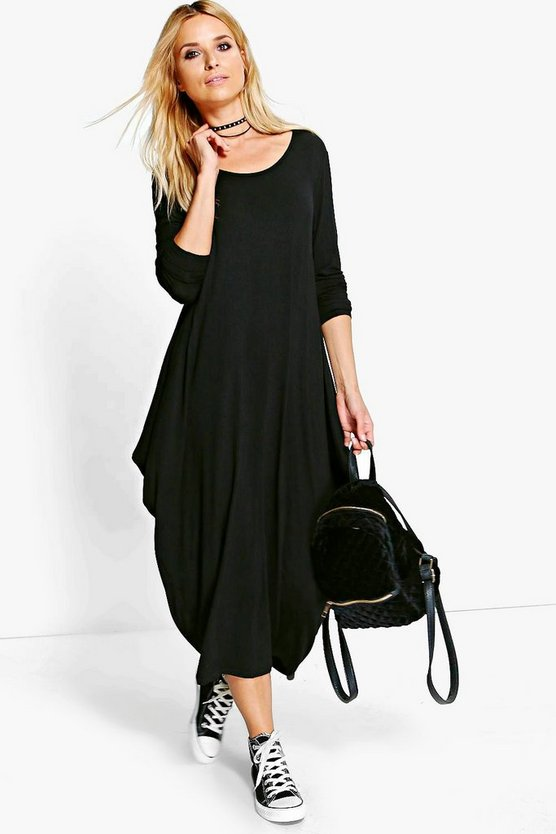 Branwen Long Sleeved Drape Midi Dress