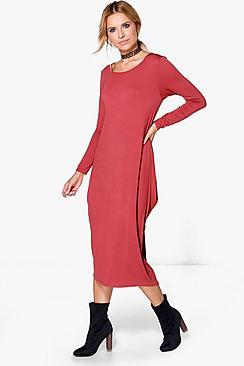 Branwen Long Sleeved Drape Midi Dress