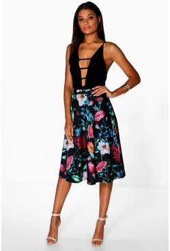 Una Dark Floral Full Midi Skirt