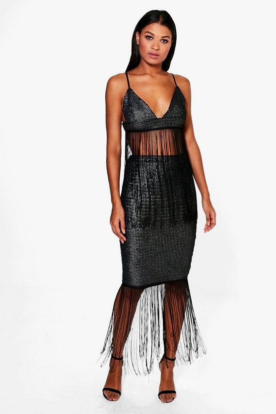 Haven Metallic Tassle Longline Midi Skirt