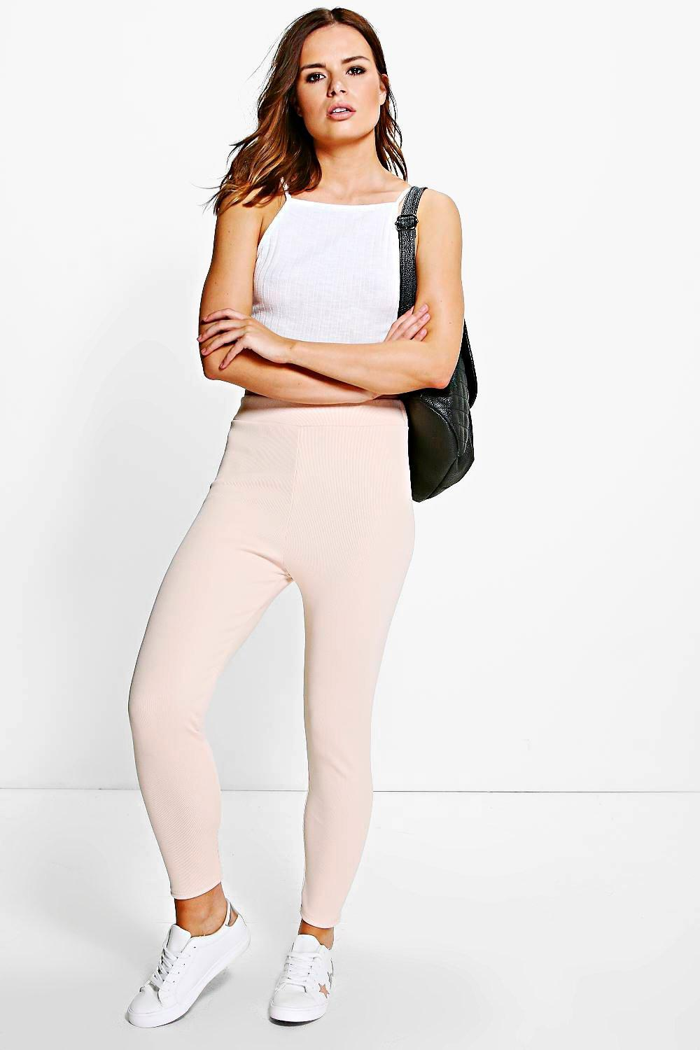 Natalya High Waist Thick Ribbed Leggings nude
