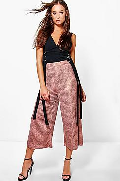 Aurora Rose Gold Knitted Wide Leg Culottes
