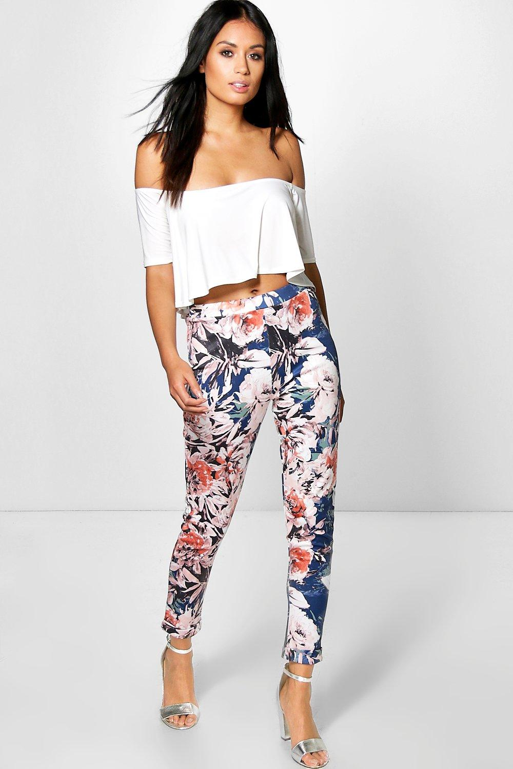 Cate Floral Stretch Skinny Trousers