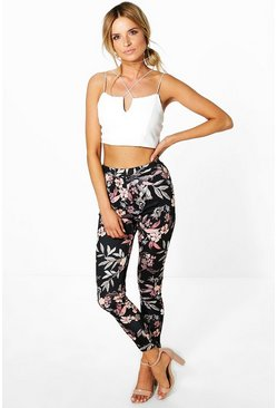 Loren Tonal Floral Stretch Skinny Trousers