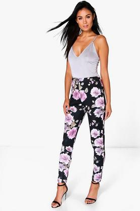 Shreya Floral Stretch Skinny Trousers
