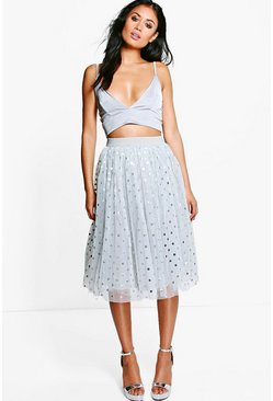 Shea Metallic Polka Dot Tulle Skirt